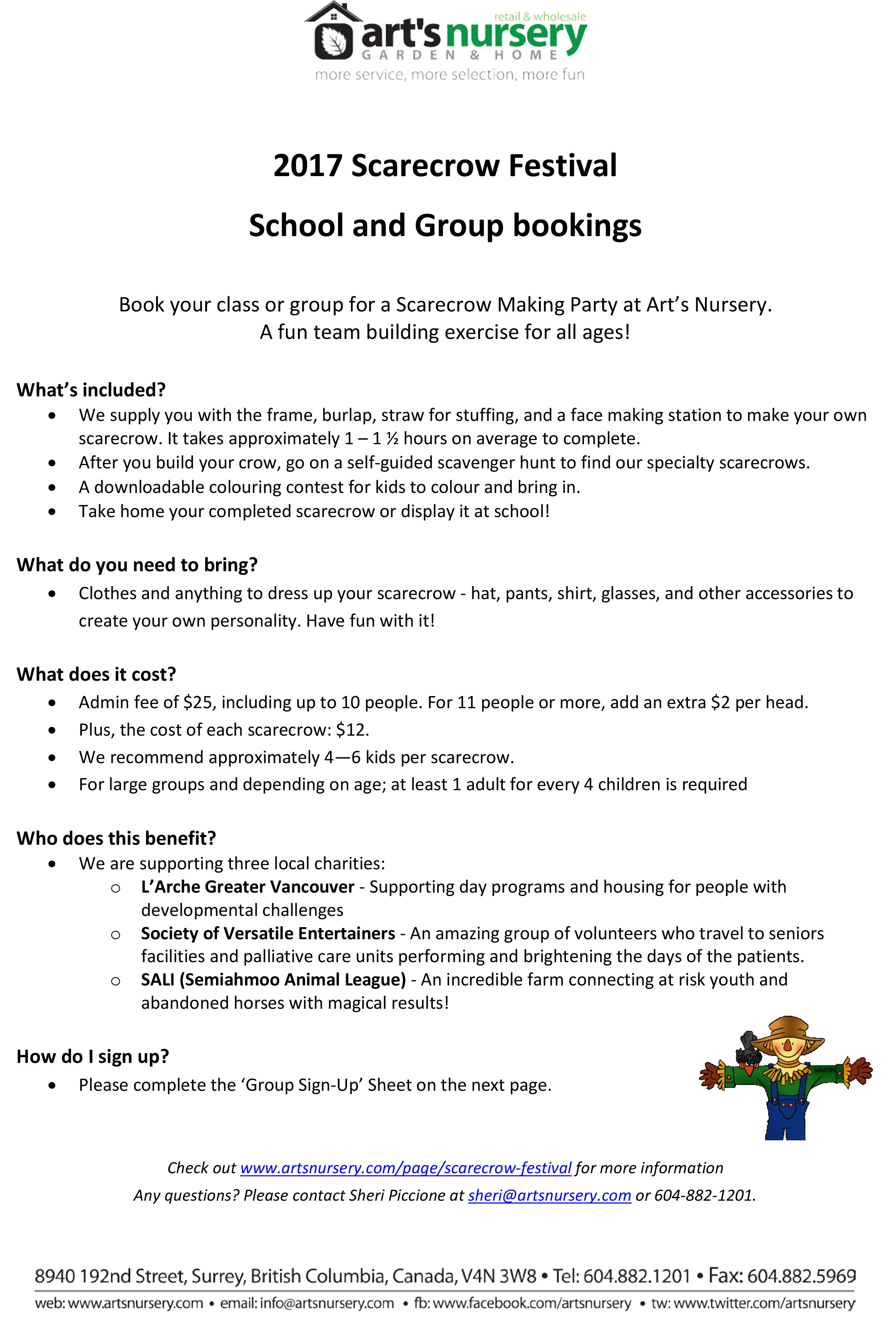 scarecrow group bookings