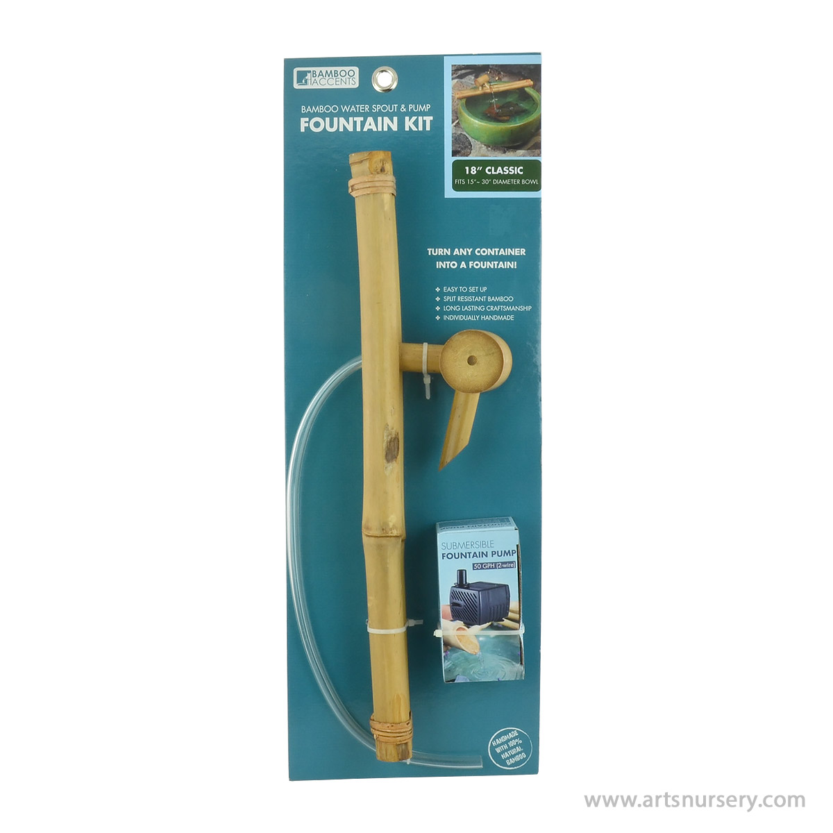 Bamboo Accents 18 Inch Classic Bamboo Water Spout and Pump Fountain Kit