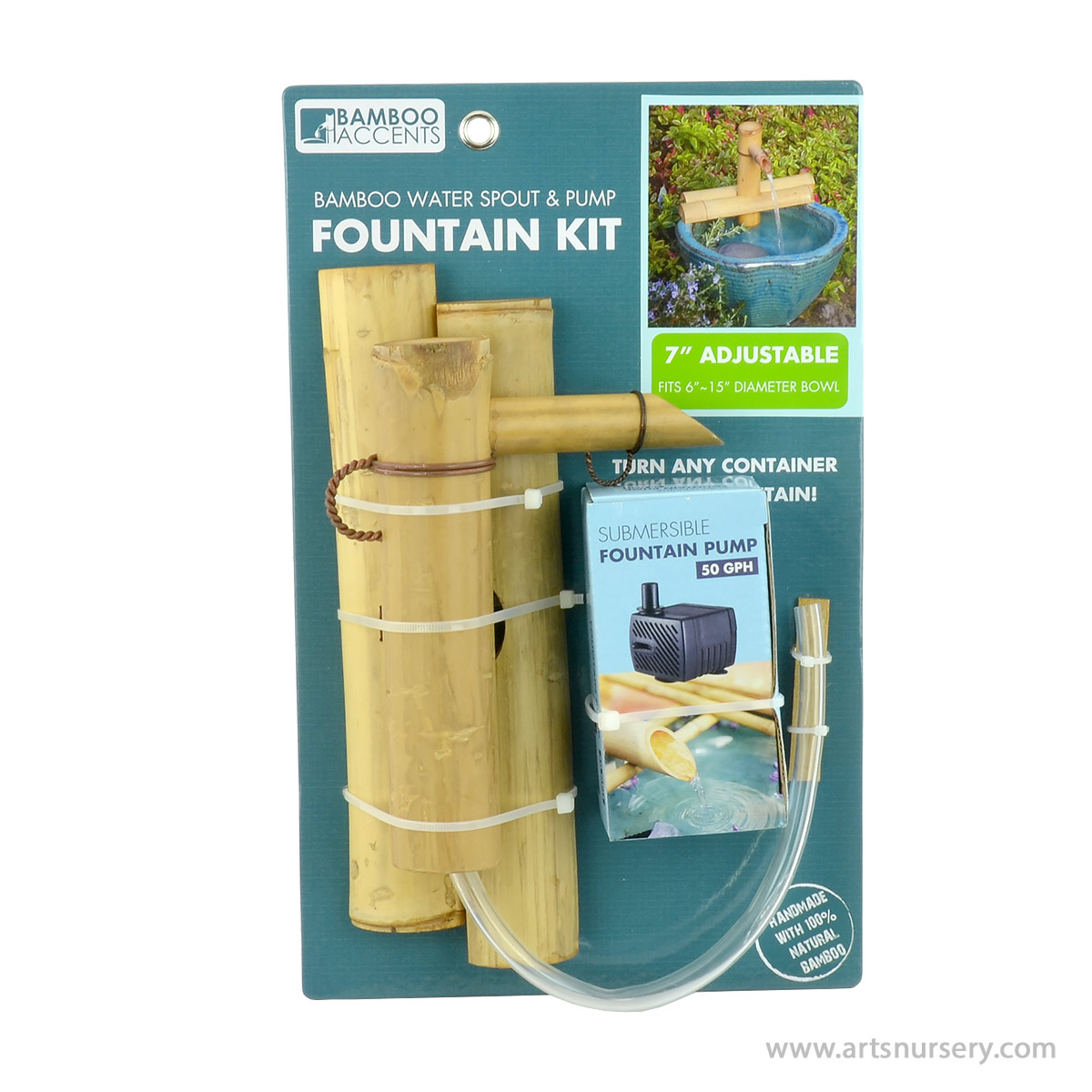Bamboo Accents 7 Inch Adjustable Bamboo Water Spout and Pump Fountain Kit