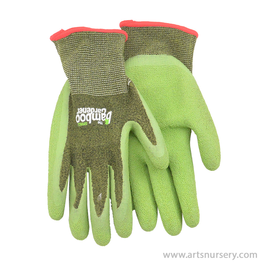 The Bamboo Gardener Garden Gloves w Rubber Palm Small