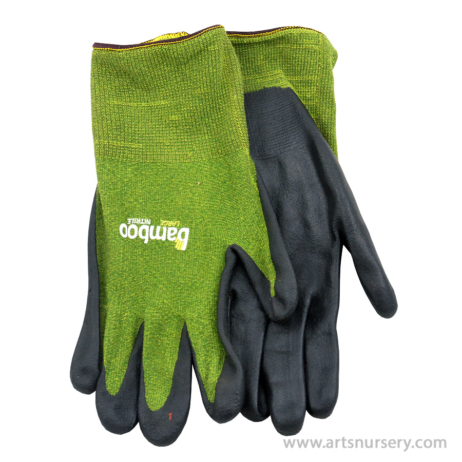 The Bamboo Gardener Garden Gloves w Nitrile Palm Medium