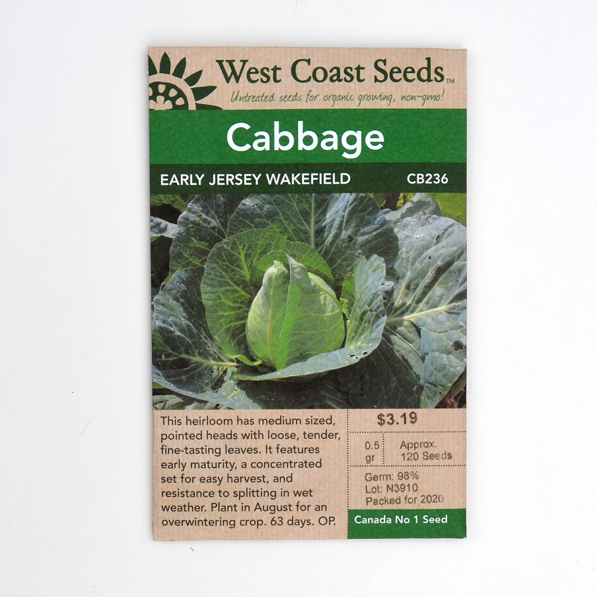 Cabbage Early Jersey Wakefield Seeds CB236