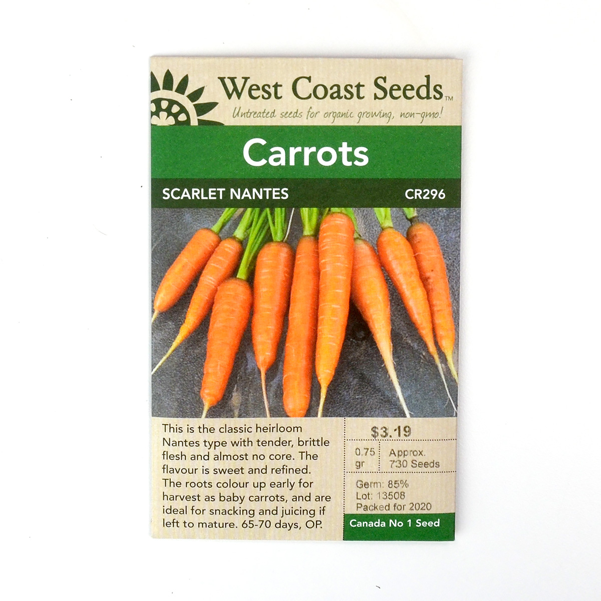Carrot Scarlet Nantes Seeds CR296