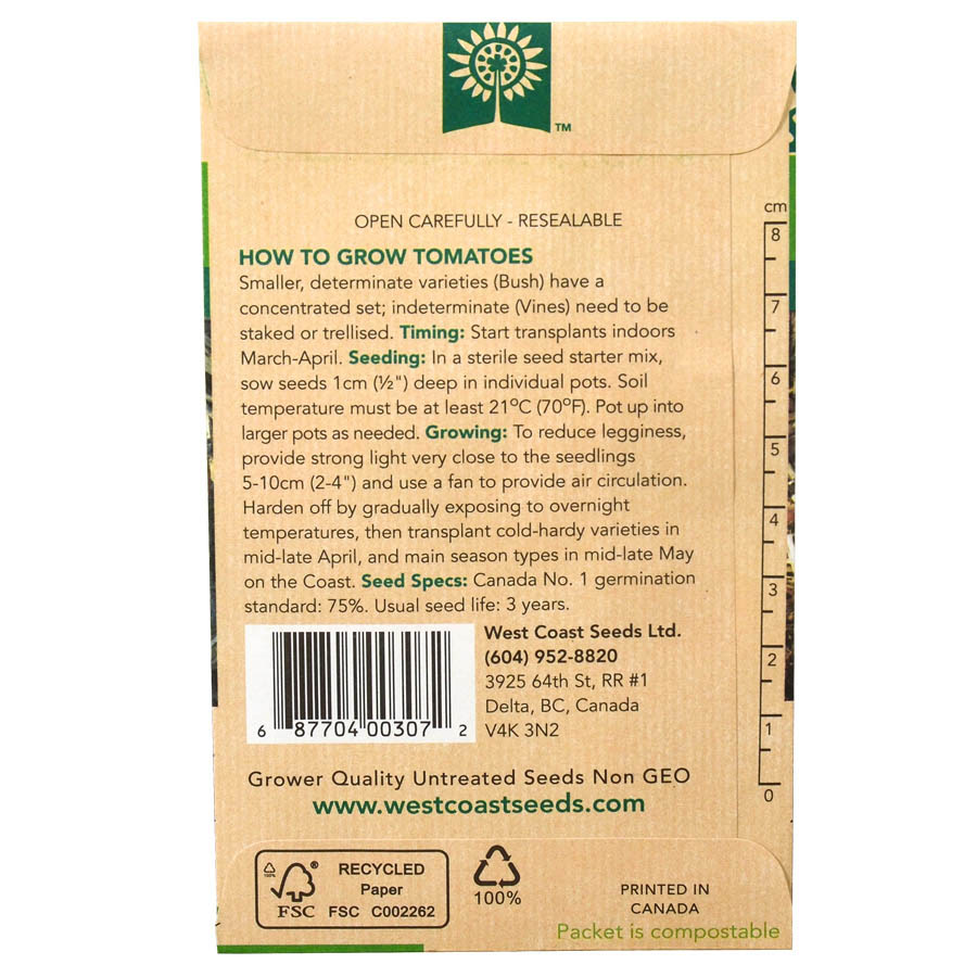 Tomato Early Girl Seed Pack Back