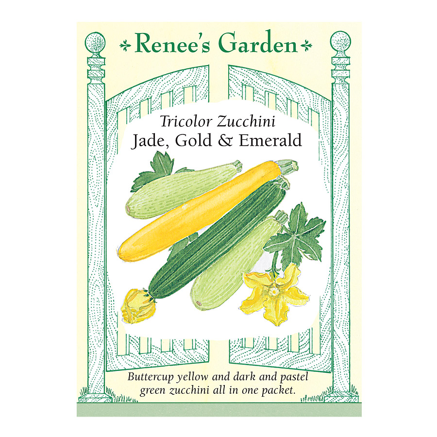 Jade Gold and Emerald Tricolor Zucchini Seeds